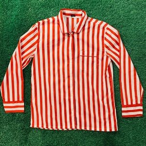 J. Crew Striped Button Front Long Sleeve Shirt L